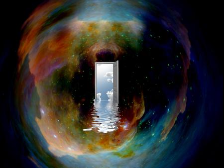Doorway in eine andere Welt in den Raum Standard-Bild - 64400972
