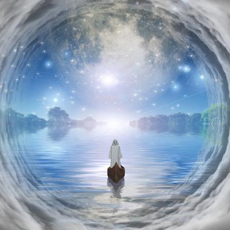 Figure in white robe floating to bright horizon
