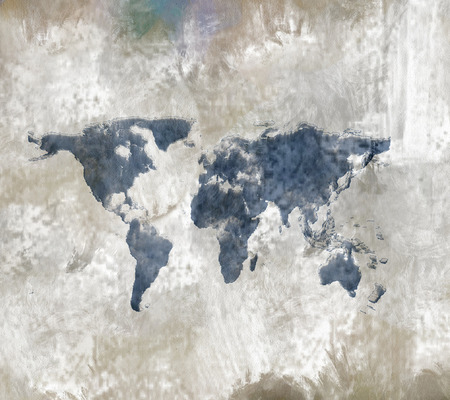 watercolour: World map. Abstract Painting. Stock Photo