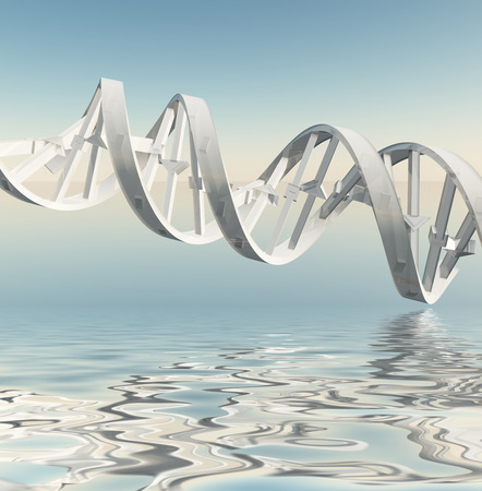 DNA Strand Refelctions Stock Photo