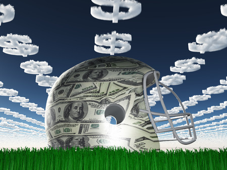 dollar sign: US Currency Helmet on Grass with Dollar Symbol Clouds Stock Photo