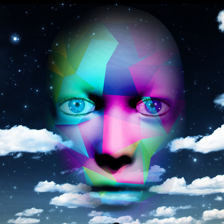 Colorful human face with sky background