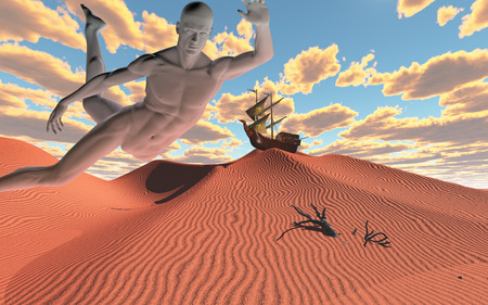 dryness: Human figure and sailing ship in sky Stock Photo