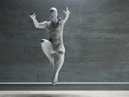 figura humana: Atlética figura masculina en blanco Foto de archivo