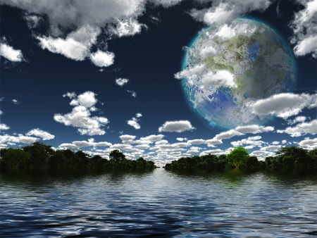 Terraformed Moon seen from Earth Stock Photo