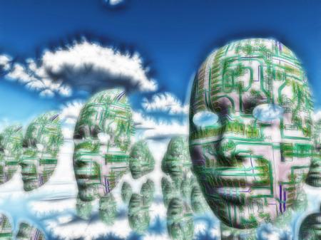 science symbols metaphors: Electronic circuit faces in quiet surreal landscape