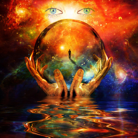 soothsayer: glass ball in hands with abstract background