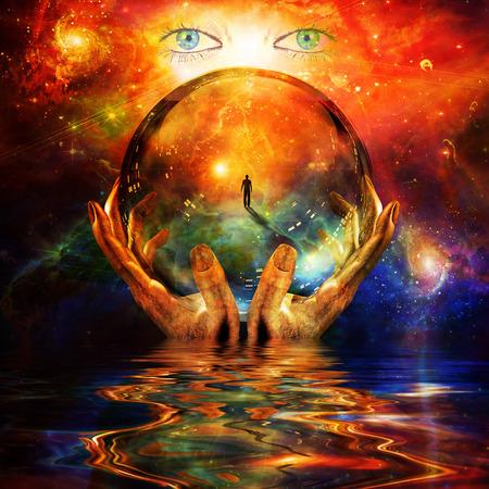 glazen bal in handen met abstracte achtergrond Stockfoto