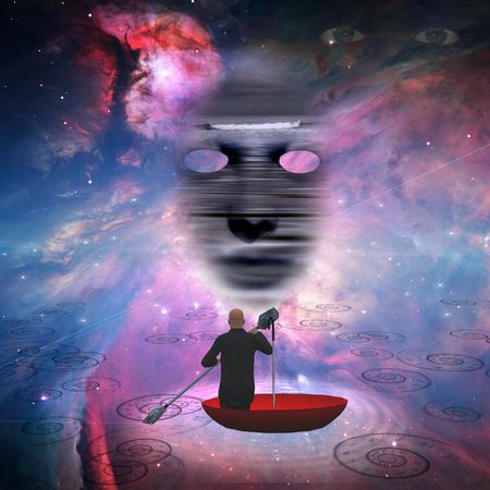 Business man in red umbrella floating in space 版權商用圖片