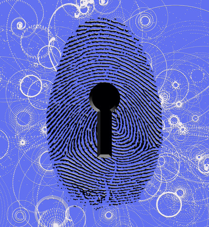 Fingerprint lock and atomic particles Stock Photo