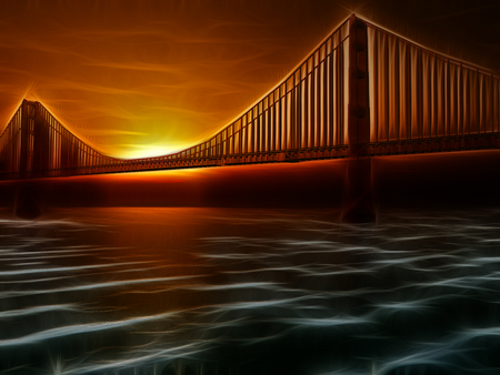 san francisco bay: Golden Gate Bridge Painterly Illustration