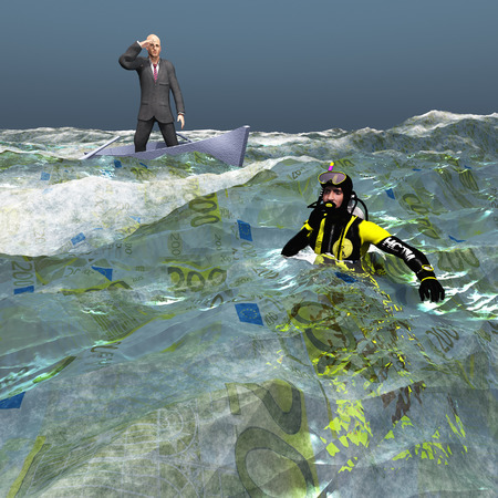 tiny: Man in tiny bvoat and diver in Euro Currency sea Stock Photo