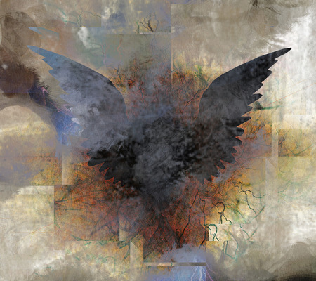 devil and angel: Wings. Abstract painting. Stock Photo