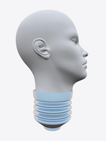 head shape: Lightbulb in Humans head shape.