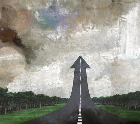 Road in arrow shape, leading up. Reklamní fotografie