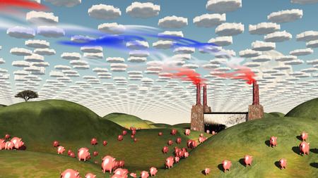 surreal landscape: Surreal landscape with factory and pigs moviong toward factory