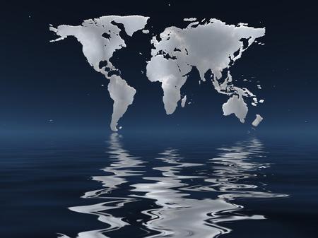 thunderhead: Water surface, horizon Stock Photo