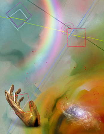 Futurism Abstract, Rainbow in hand Stock Photo