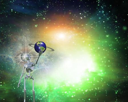 unreal unknown: Alien bringing Earth in universe Stock Photo
