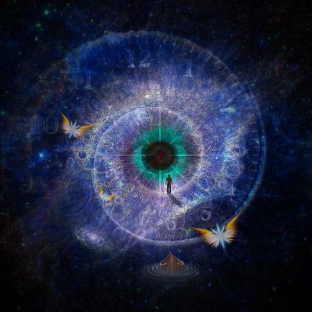 kosmos: Abbildung von Mann zu Fuß auf das Auge Gottes Lizenzfreie Bilder