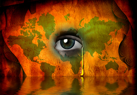 optical people person planet: Tear shed for world Stock Photo