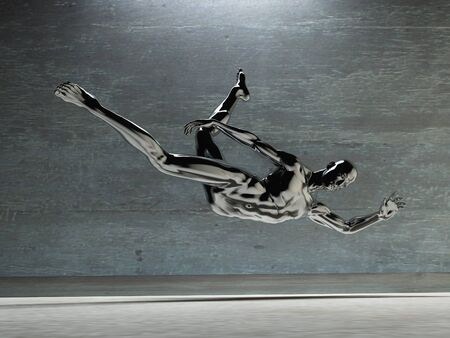 artisitc: Athletic Male Figure in Black Stock Photo