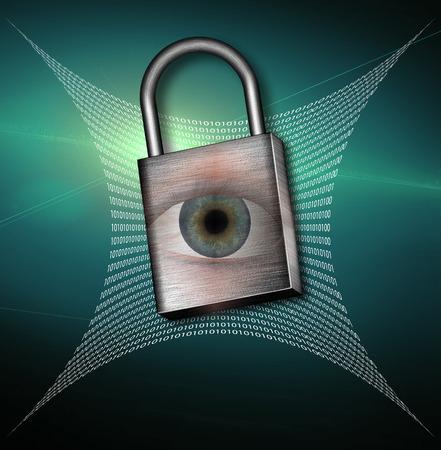 Binary Code Web and padlock with eye Stock Photo