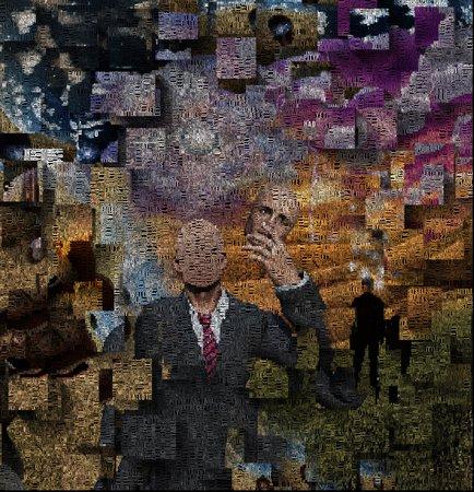 Abstraktes Gemälde. Mann ohne Gesicht