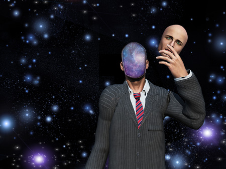 reveal: Man removes face to reveal stars inside Stock Photo