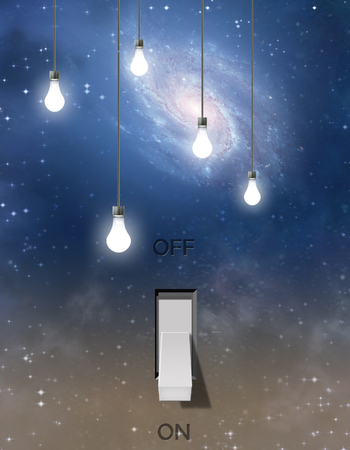 Switch and light bulbs and star filled sky Stock Photo
