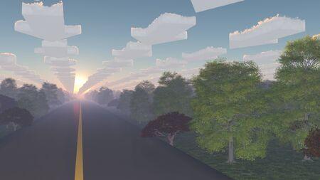 Weg omzoomd met bomen en pijlvormige wolken