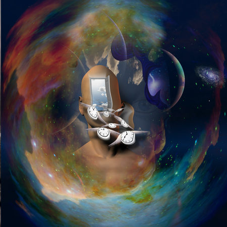 unreal unknown: Abstract painting. Mans head with open door to another world.