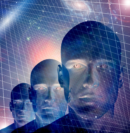 bionics: Male figurte with space and grid Stock Photo