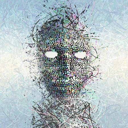 surrealism: Surreal Mask ABstract with Many Wires Stock Photo