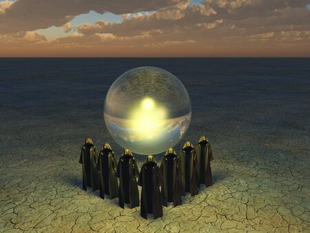 priestess: Large crystyal sphere and cloaked figures Stock Photo