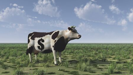Cow with dollar sign.