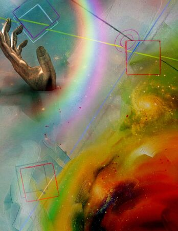 abstract rainbow: Futurism Abstract, Rainbow in hand Stock Photo