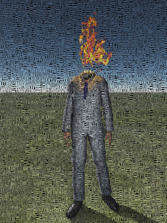 unrecognizable person: Abstract painting. Man with fire instead of head Composed entirely of text