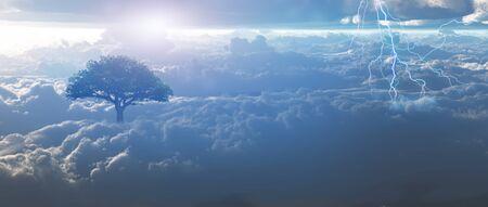 Sunrise, lightning above the clouds. 版權商用圖片