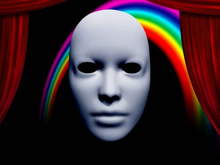 white mask: white mask and curtains with rainbow