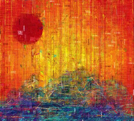 dream land: Abstract painting. Red Sunset. Stock Photo