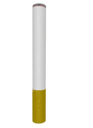 killing cancer: Burning cigarette on white background. Stock Photo