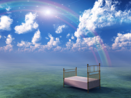 Bed in fantasy landscape Stock Photo