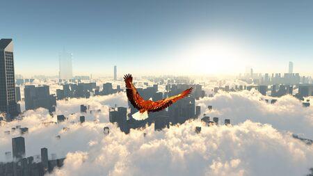 都市上空を飛んでいる鷲 写真素材