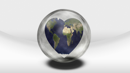 science symbols metaphors: Earth Heart in glass container