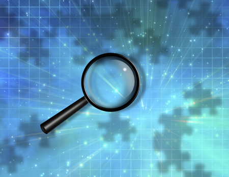 Magnify Glass Puzzle Piece Background Stock Photo