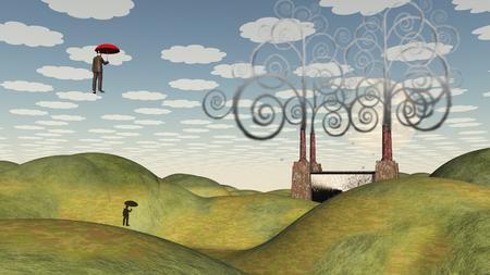 Fantastic landscape with man floating in sky under umbrella