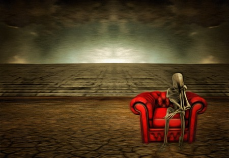 desolate: Alien sitting on red sofa