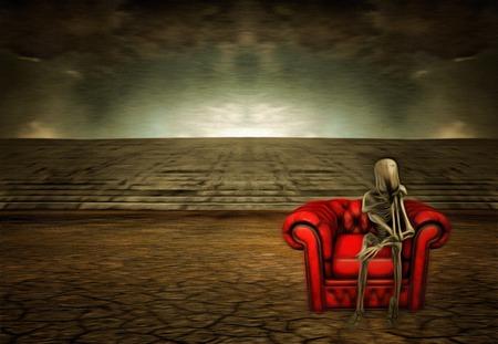 mente humana: sentado en el sofá rojo extranjero