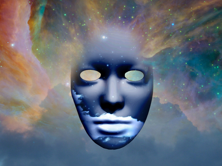 Mask with clouds in the space